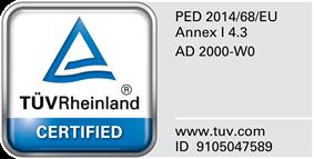 PED 2014/68/EU Annex.I,4.3 & AD 2000-W0 Certified