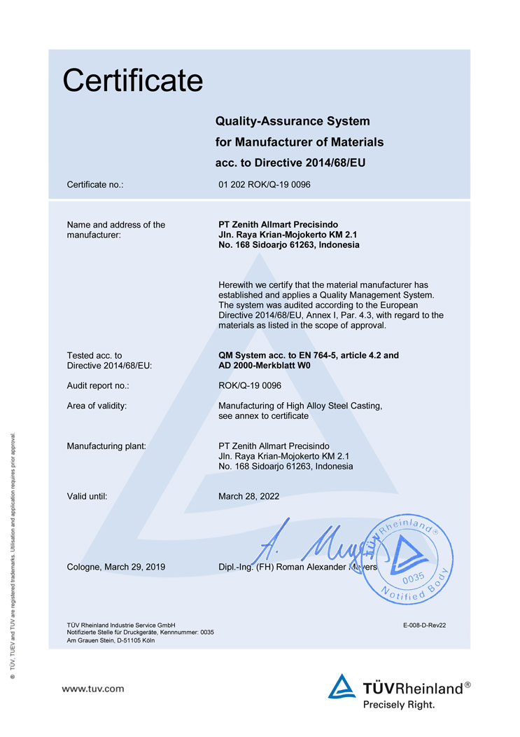 PED 2014/68/EU Annex.I,4.3 & AD 2000-W0