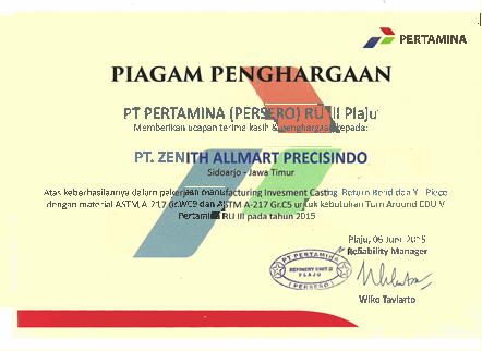 Certificate of Appreciation From Pertamina