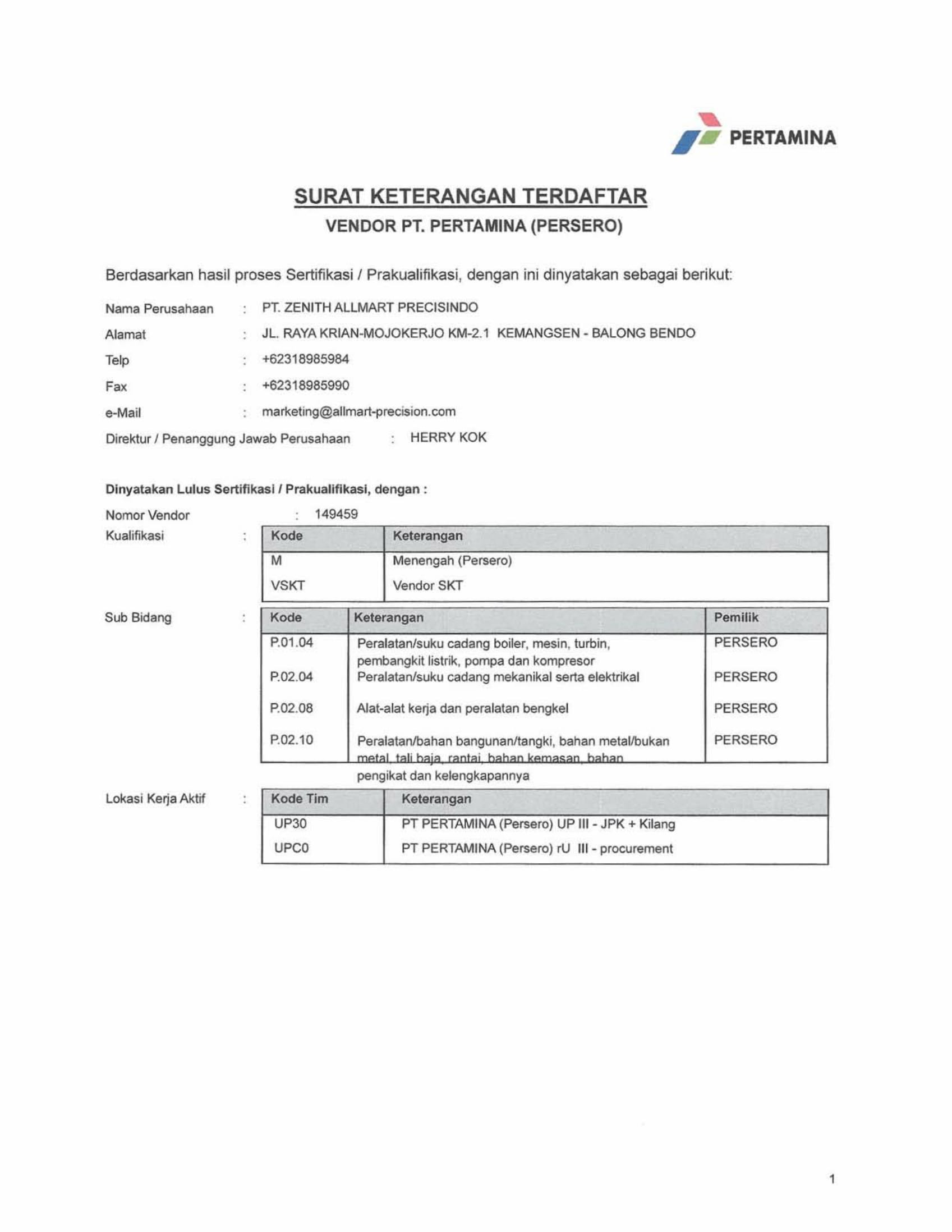 Approved Supplier Pertamina 2017 Page 1